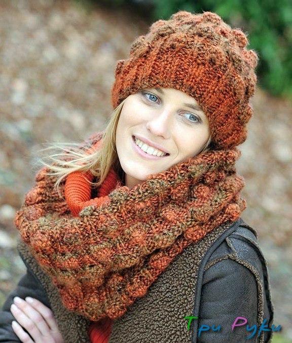 Шапка и шарф-хомут с узором «
