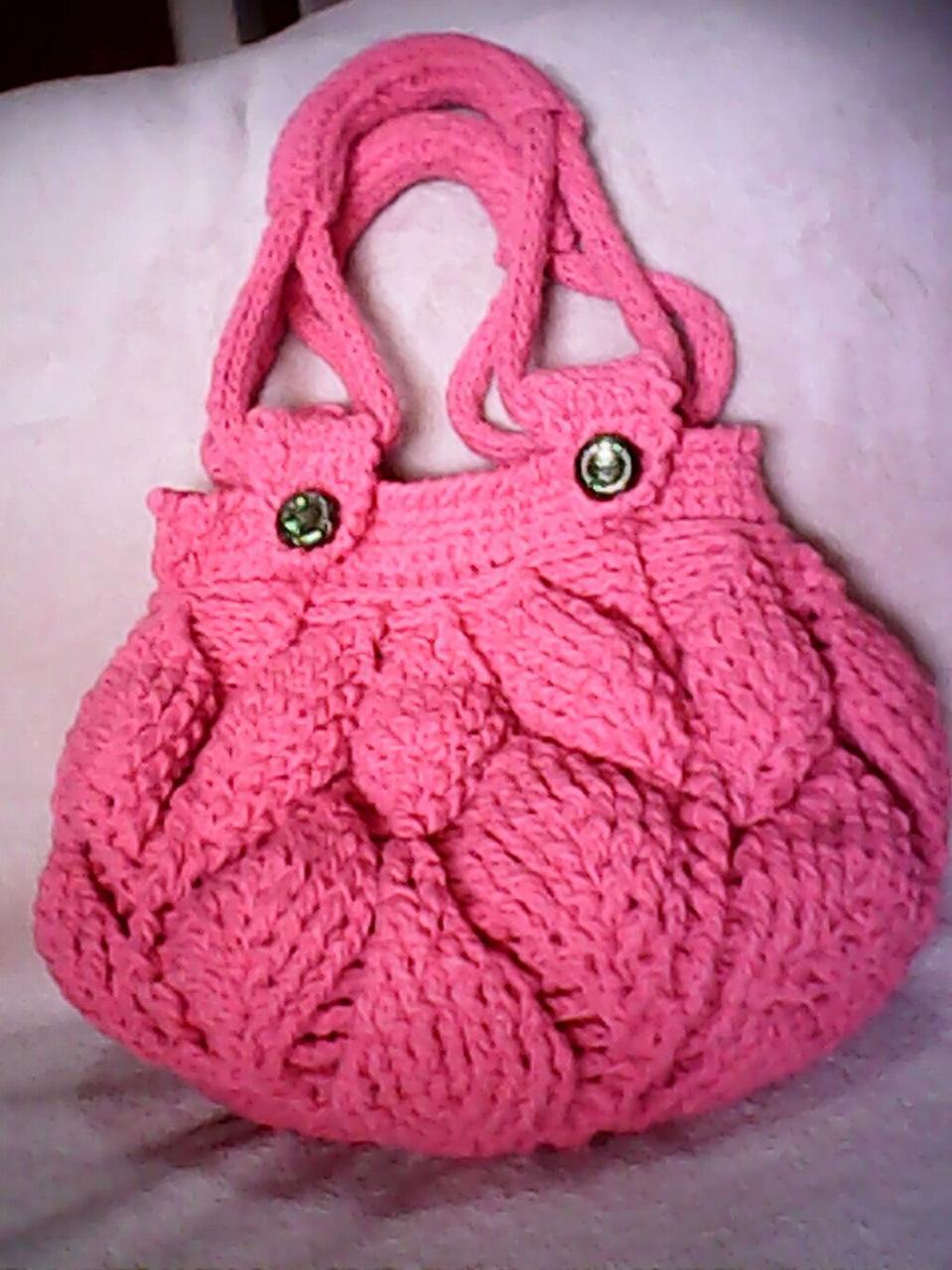 Розовая сумка спицами (2)