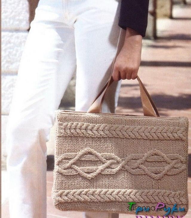Схема вязаной сумки спицами
