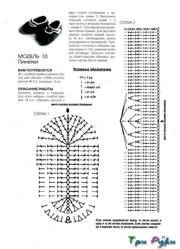 Схема пинеток крючком по картинкам