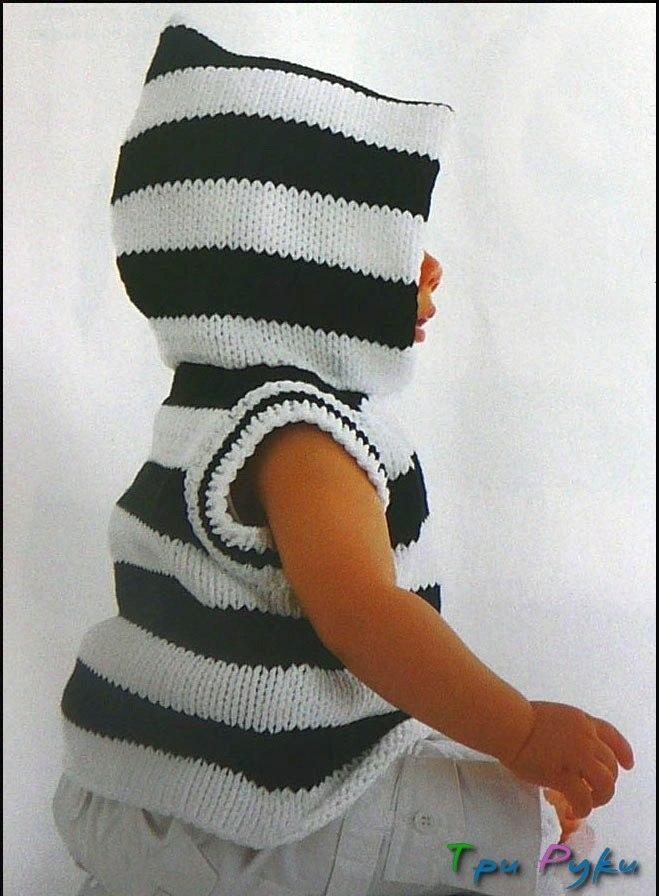 Вязанный спицами жилет для малыша (2)