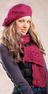 Берет и шарф бордового цвета (1)