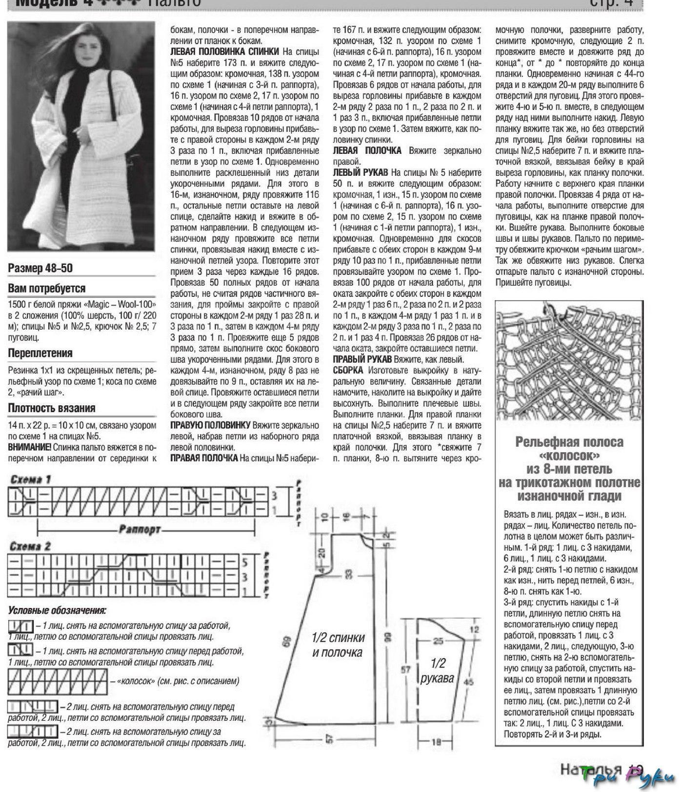 Схема с описанием вязаного пальто спицами фото