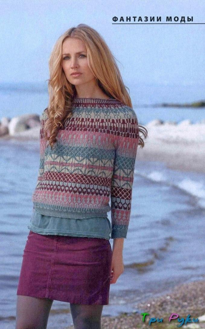 Вязаный пуловер с жаккардом