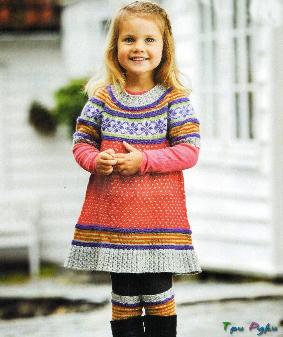 Платье для девочки спицами и гетры
