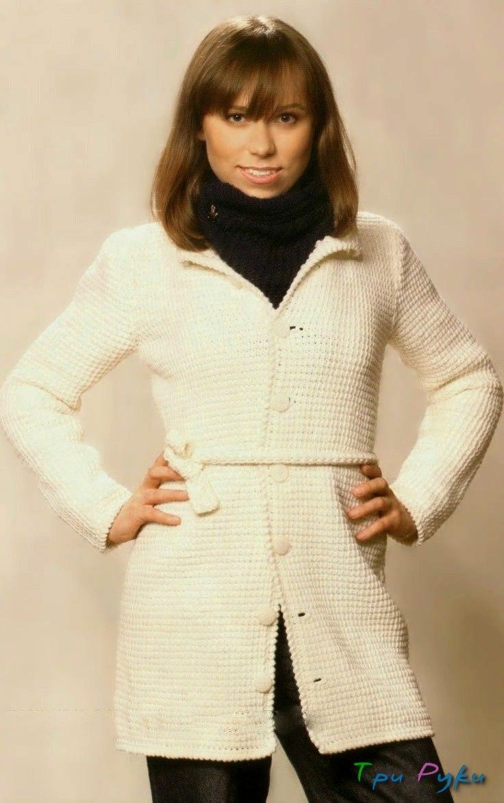 Тунисское вязание пальто