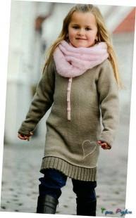Теплая туника девочке для осени
