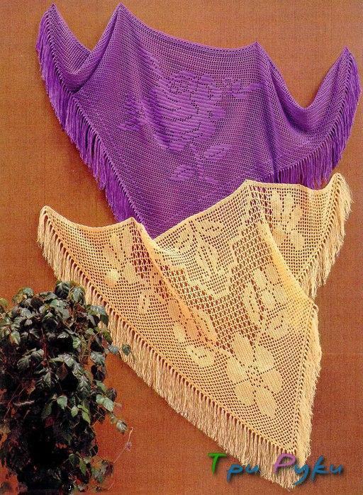 """Шали и шарфы в технике """"филейное вязание"""""""