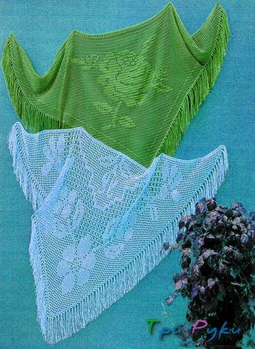 Голубая и зеленая шаль крючком