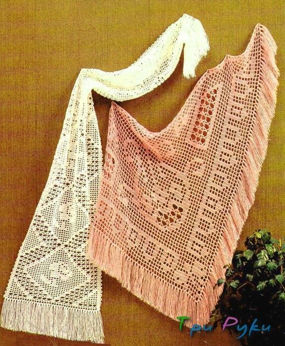 шали и шарфы в технике филейное вязание крючком три руки мир