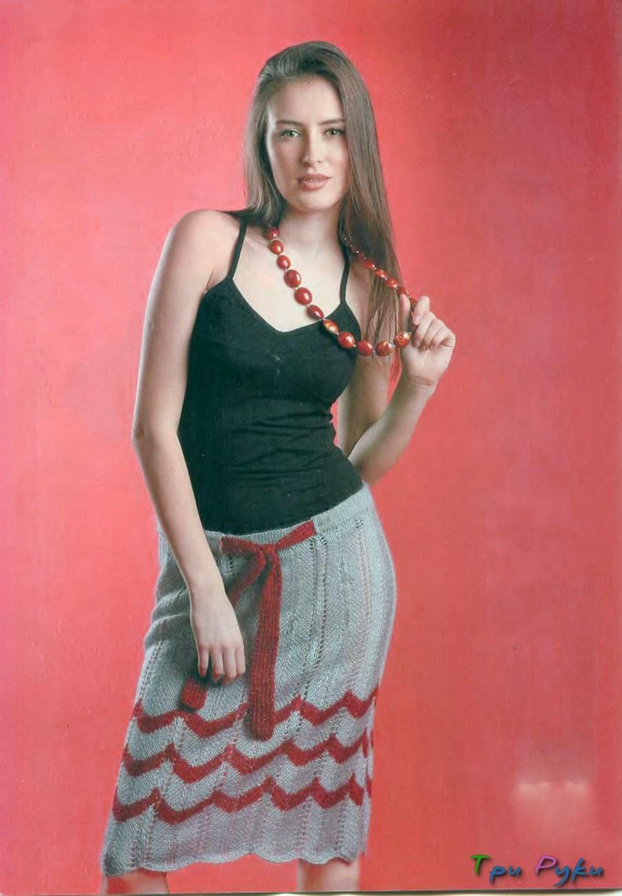 Вязаная юбка в полоску