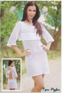 вязаное платье крючком на лето