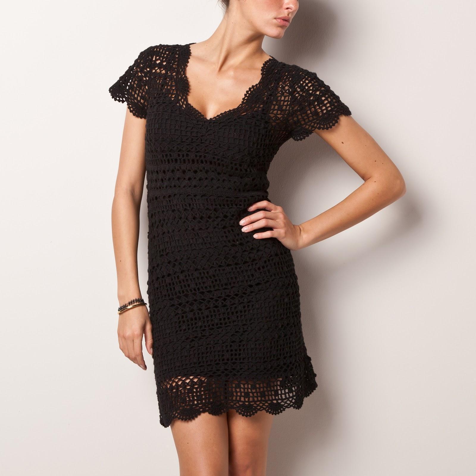 Ажурное черное платье на лето