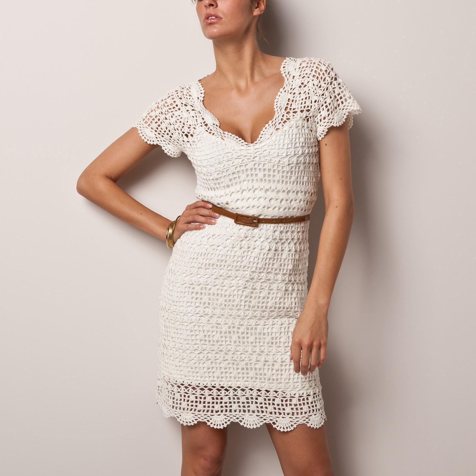 Ажурное белое платье на лето
