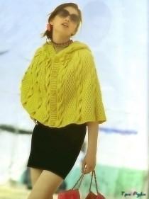 Ярко-желтая накидки вязание спицами