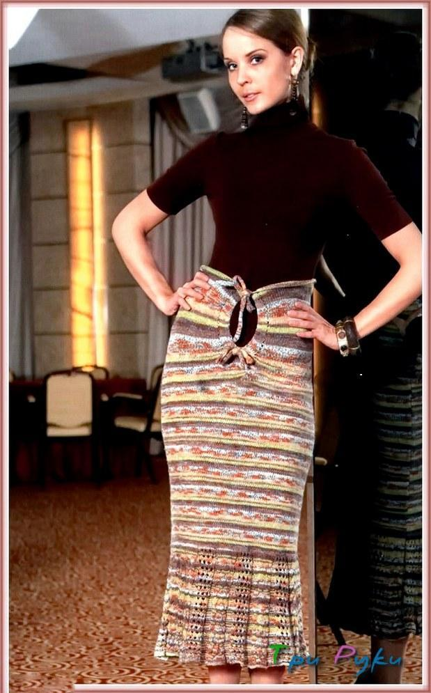 Длинная юбка-сарафан спицами