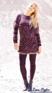 фото Пуловер с крупным плетеным узором