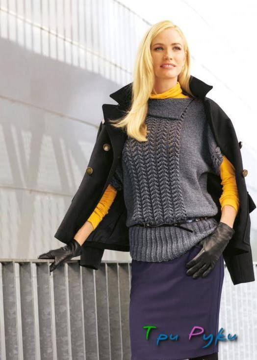 Серый пуловер с короткими рукавами