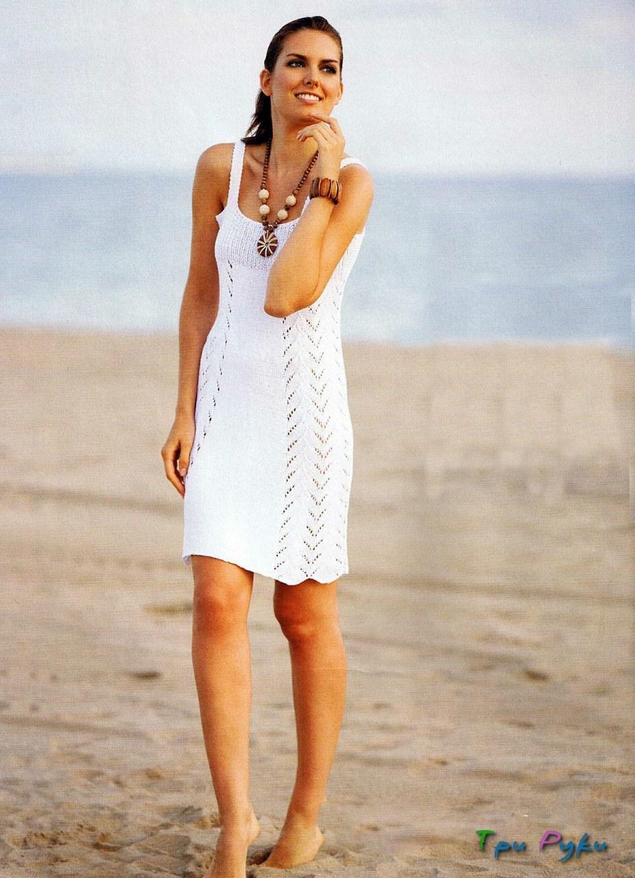 Белый сарафан спицами