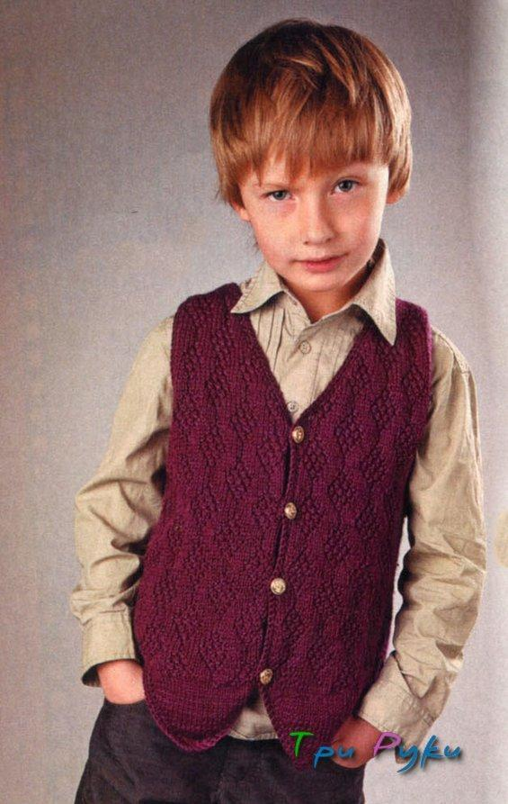 Бордовый жилет мальчику 7-9 лет
