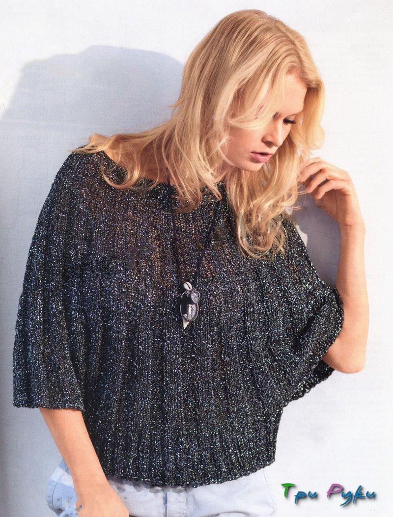 Пуловер-накидка вязание по кругу