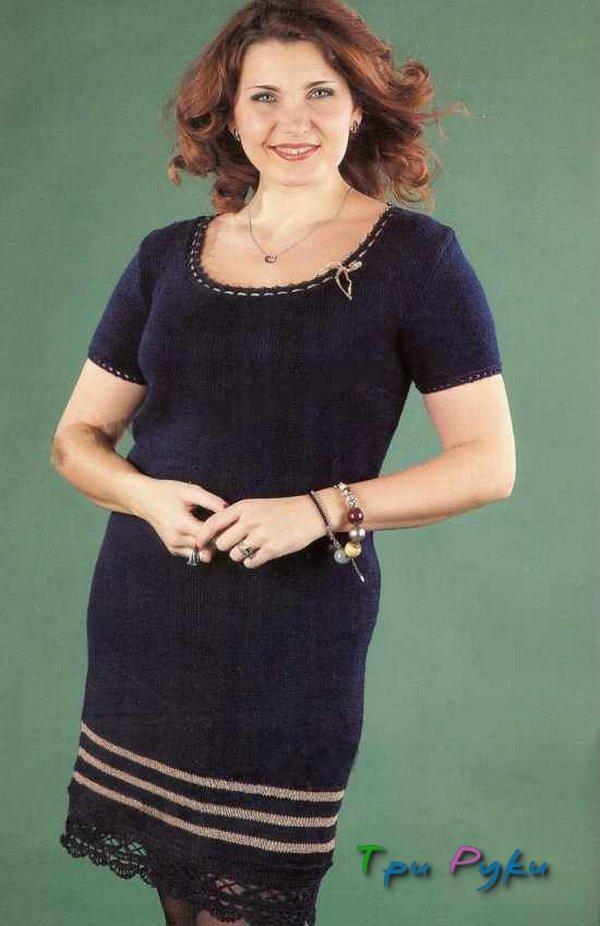 Платье вязаное спицами большой размер
