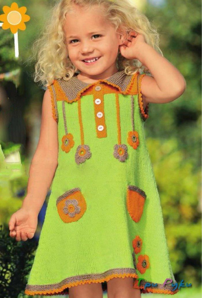 Летнее платье вязаное спицами девочке