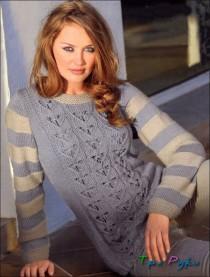 Пуловер с контрастными полосами