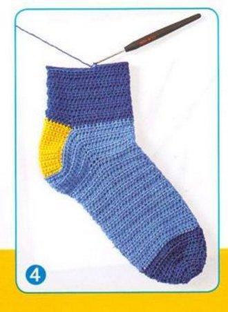 Вязание носков крючком от мыска