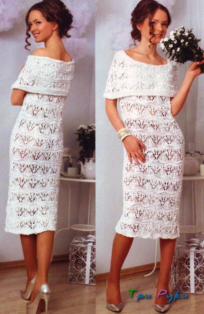 Белое вечернее платье спицами
