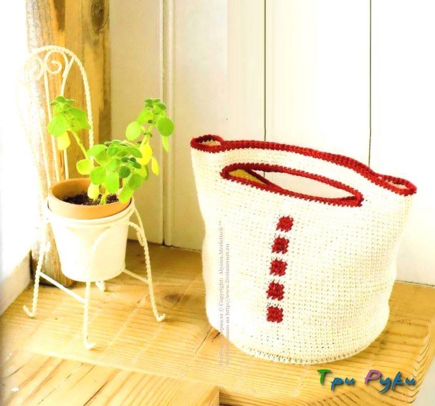 Белая сумка с красным обрамлением