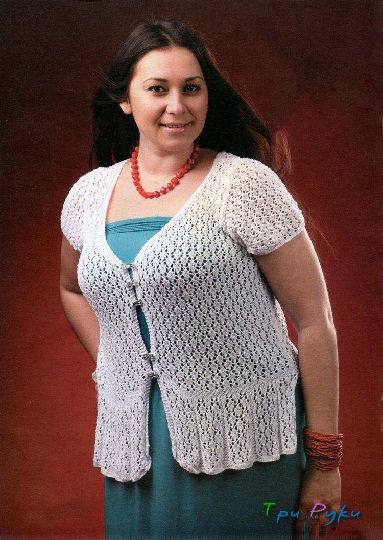 Белый жакет с короткими рукавами - большой размер