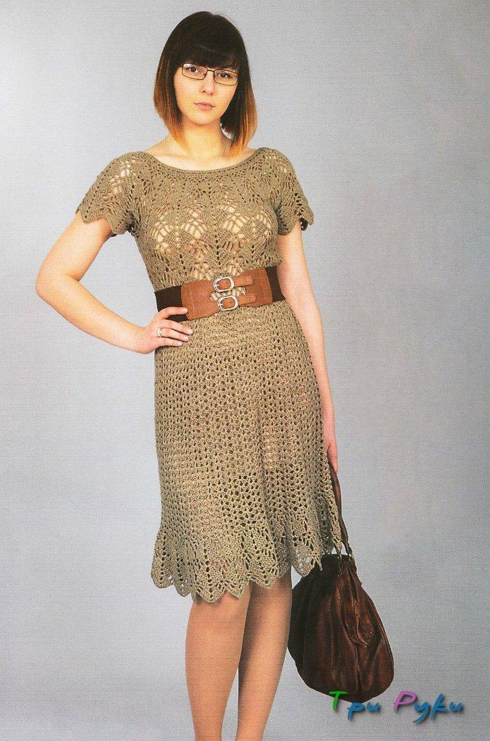 Бежевое платье крючком - летняя модель со схемой