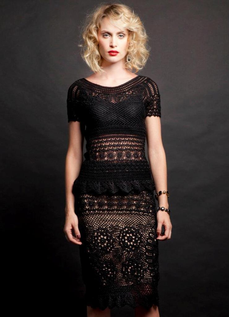 Вязаное платье крючком ирландское кружево