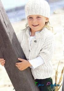 Схема вязаной кофточки и шапочки для девочки