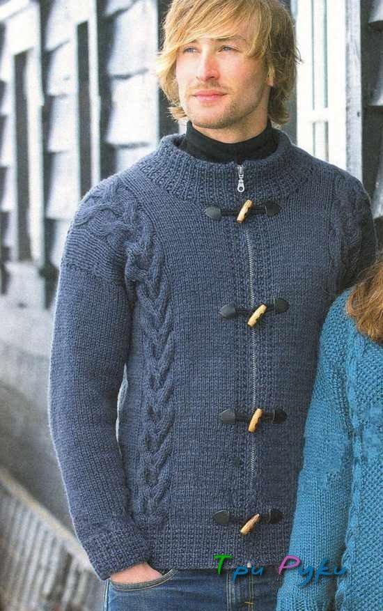 Для мужчин жакет вязание спицами