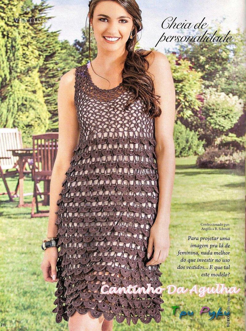 вязание крючком платьев для женщин со схемами
