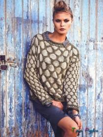 Пуловер с узором в виде сот