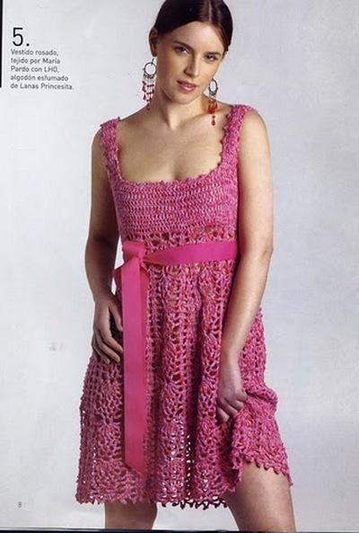 Розовый сарафан вязаный крючком