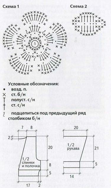Сххема болеро и цветок крючком
