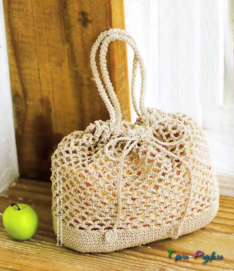 Сумка-мешок, вязание крючком