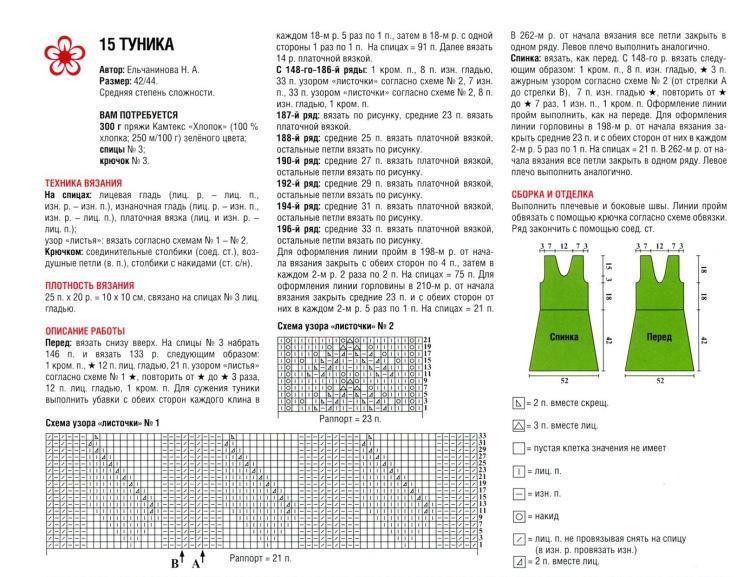 Вязание на спицах узоры для туник 146
