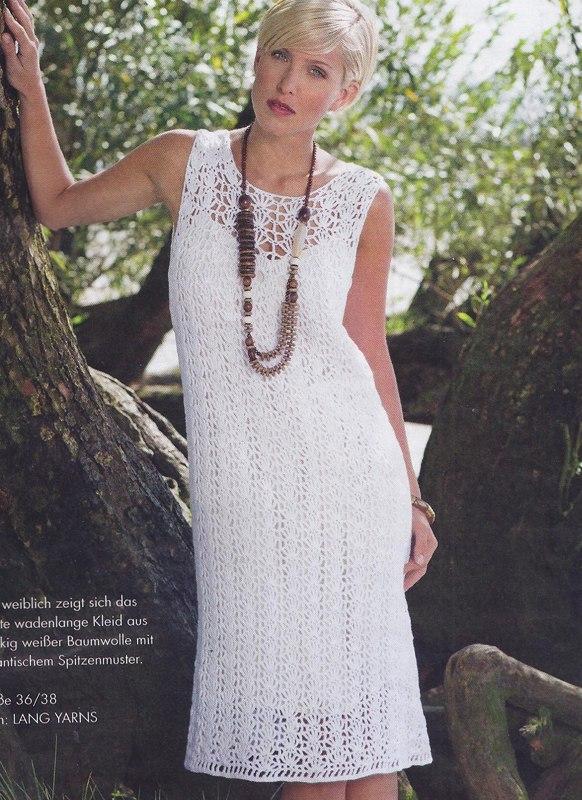 Белое ажурное платье