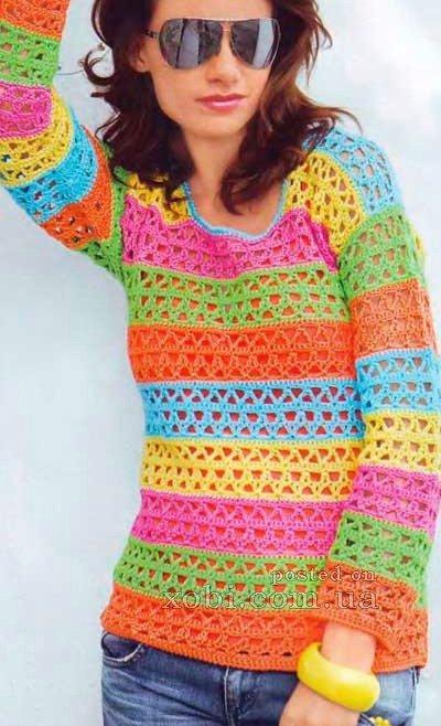 полосатый пуловер вязаный крючком