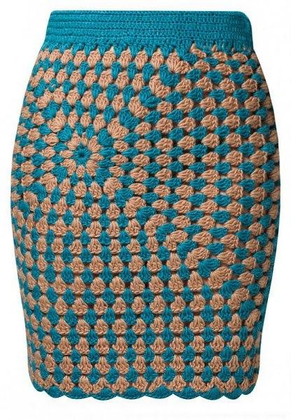 Юбка вязание крючком квадратами