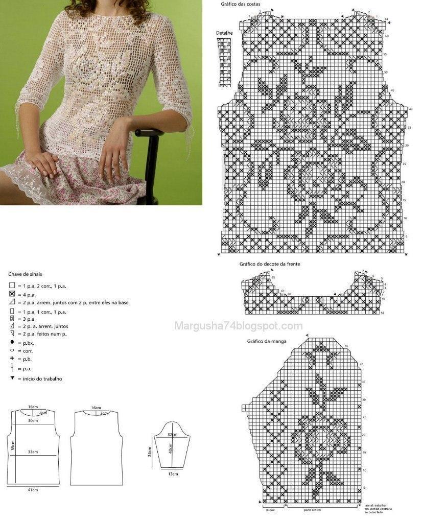 Вязание крючком филейные узоры для платья