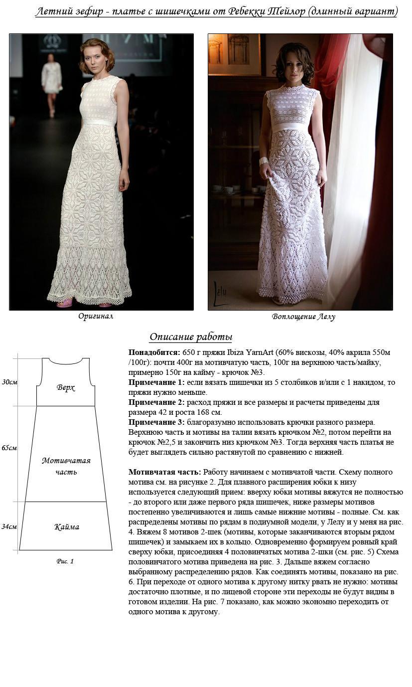 Схема вязаного крючком свадебного платья для