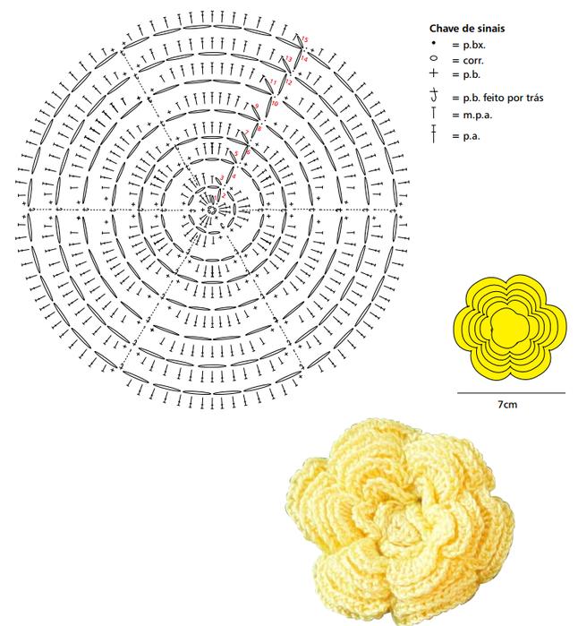 Вязание объемного цветка крючок схема 998