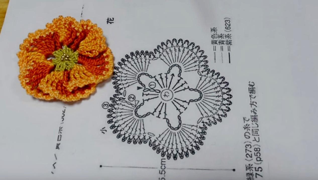 Схема цветов крючком видео фото 16