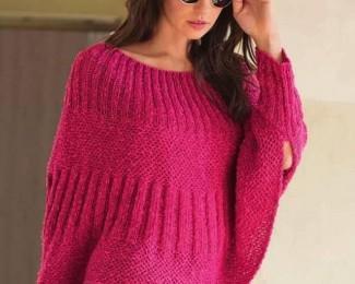 Розовый пуловер-пончо